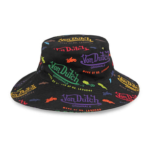 Black All Over Print Bucket Hat