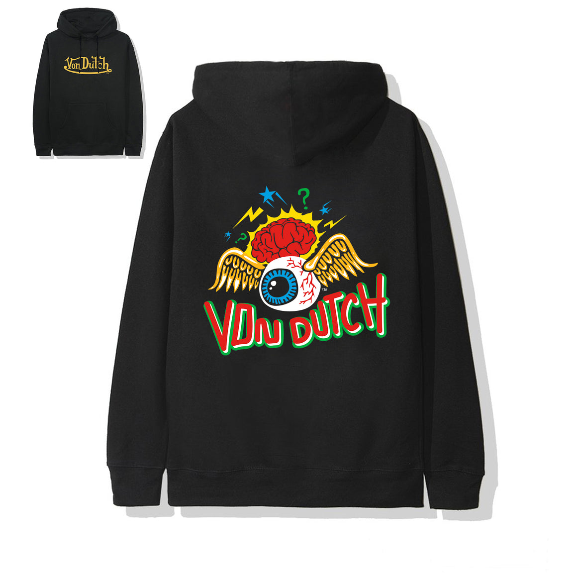 "Von Dutch ""Brain"" Black Hoodie Yellow Wordmark"