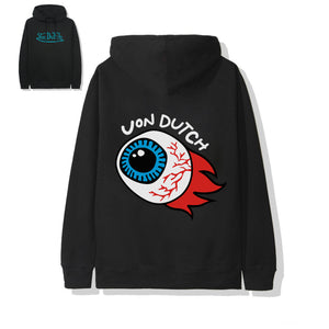 "Von Dutch ""Flame"" Black Hoodie Blue Wordmark"
