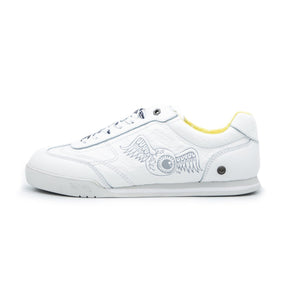 Big Kid's Leather Ken Sneaker Yellow & White