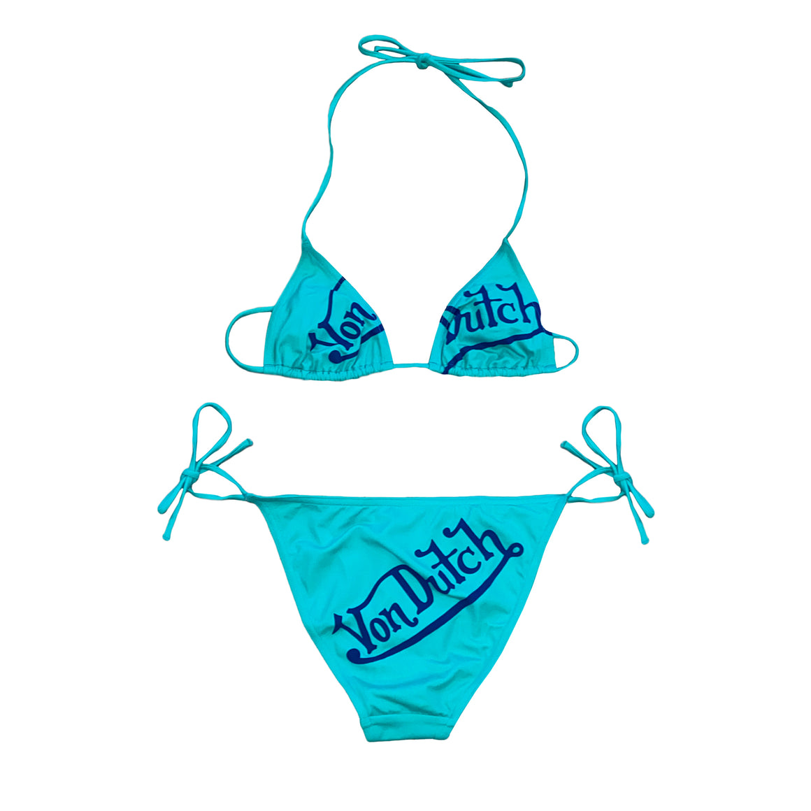 Aqua and Navy Wordmark Bikini Set