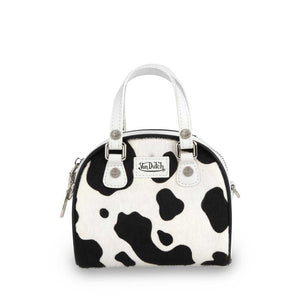 Black & White Cow Print Pony Hair Leather Micro Mini  Bowling Bag