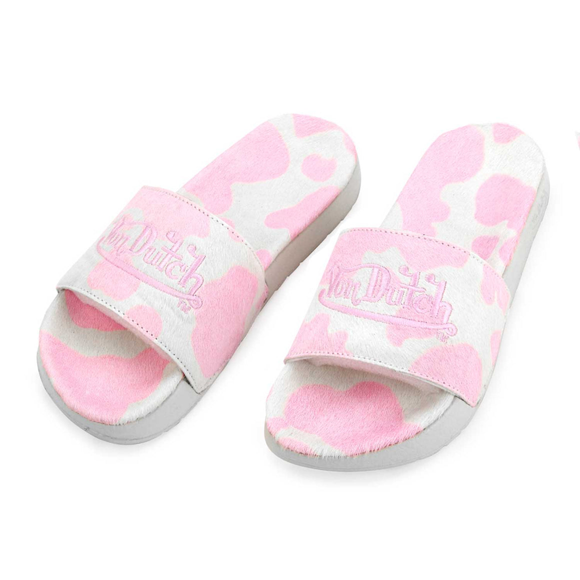 Pink & White Cow Print Pony Hair Women's Slides