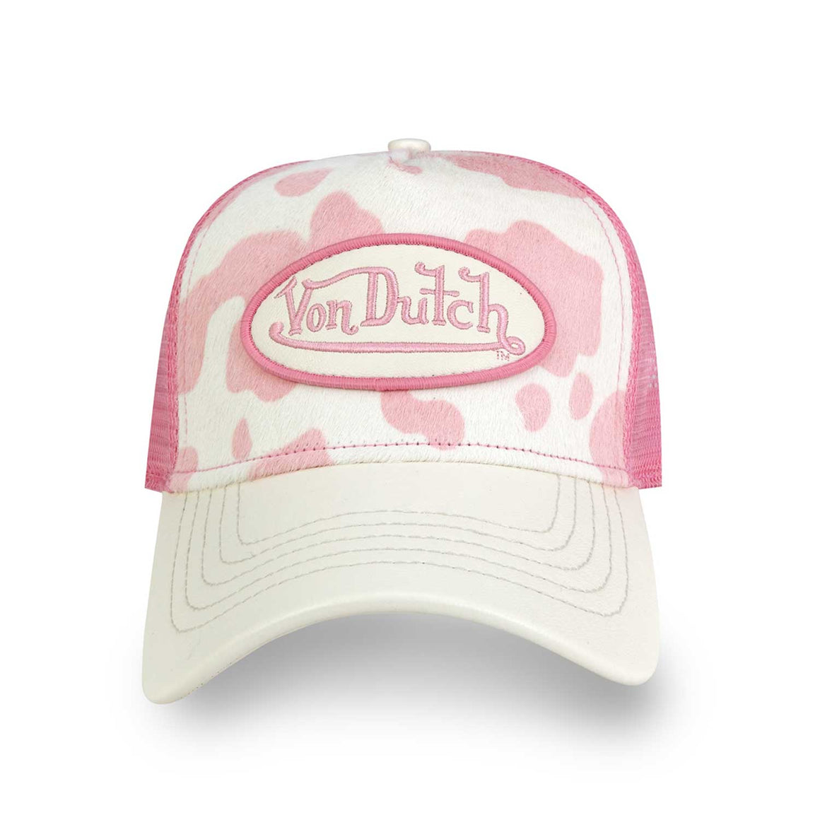 Pink & White Cow Print Pony Hair Trucker