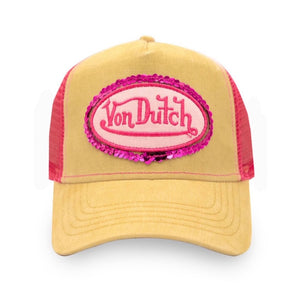 PINK SEQUIN ON BEIGE TRUCKER