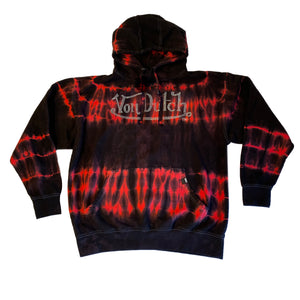 RED/BLACK TIE DYE-VON DUTCH HOODIE