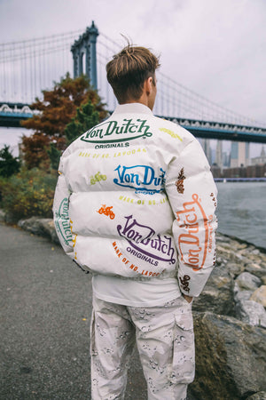 White All Over Print Unisex Puffer Jacket