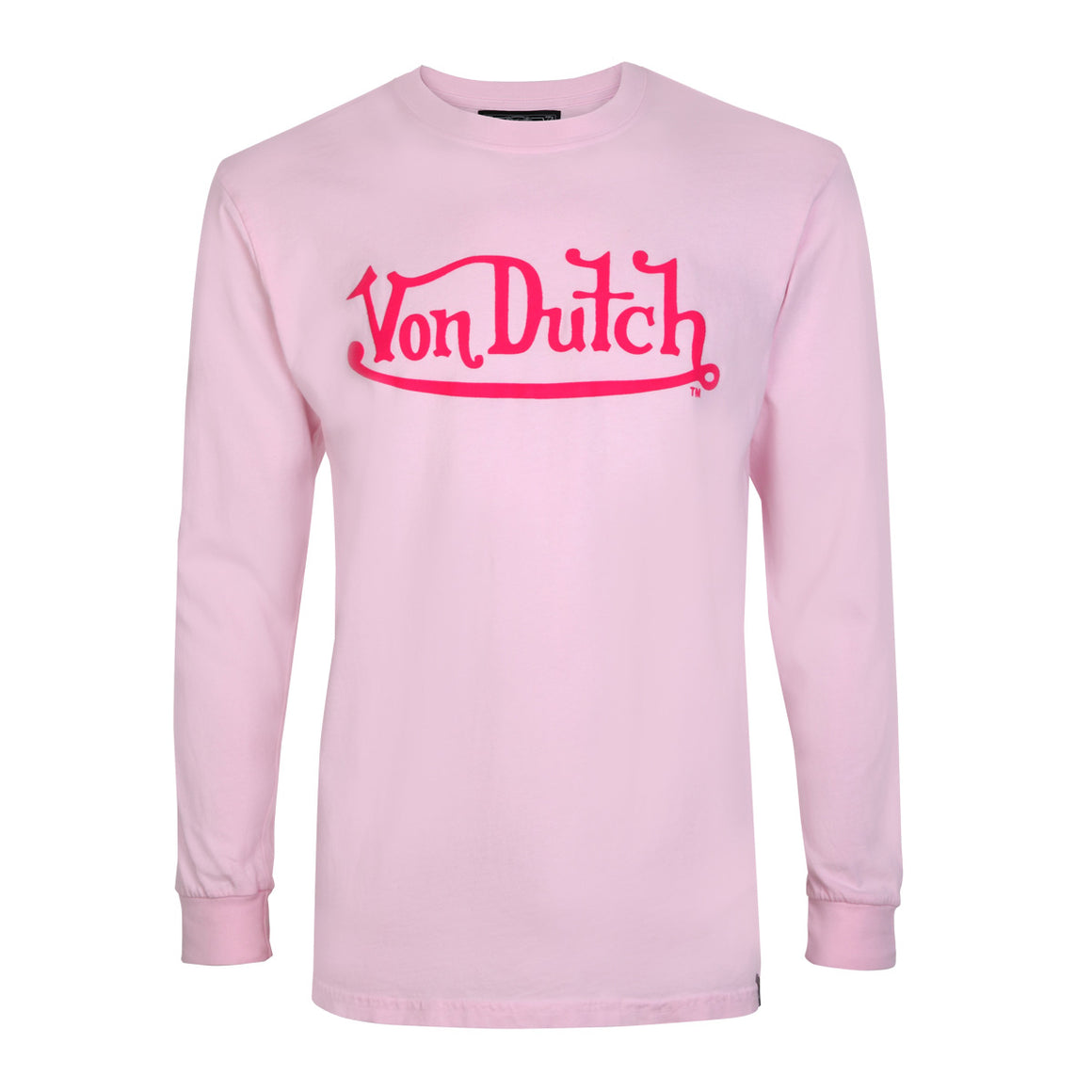 Pink With Hot Pink Classic Wordmark Long Sleeve Tee
