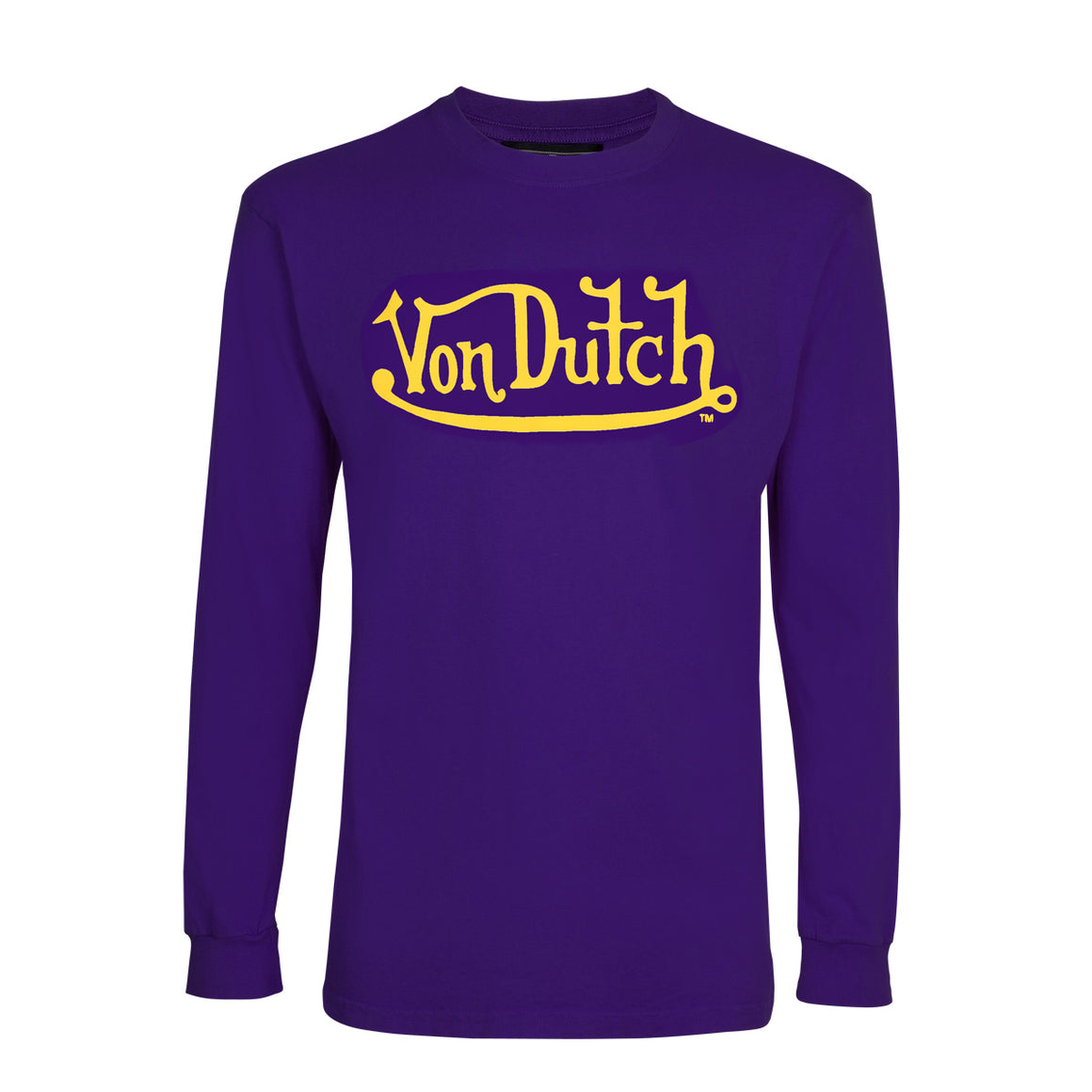 Purple With Gold Classic Wordmark Long Sleeve Tee
