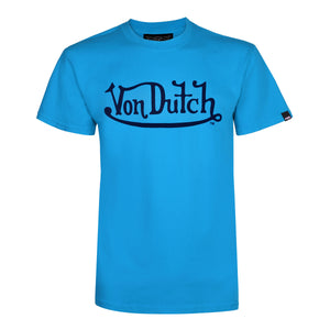 Turquoise With Navy Classic Wordmark Tee