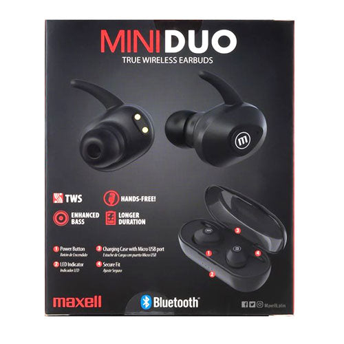 Audífonos Maxell 348481 Mini Duo In Ear Bluetooth Negros