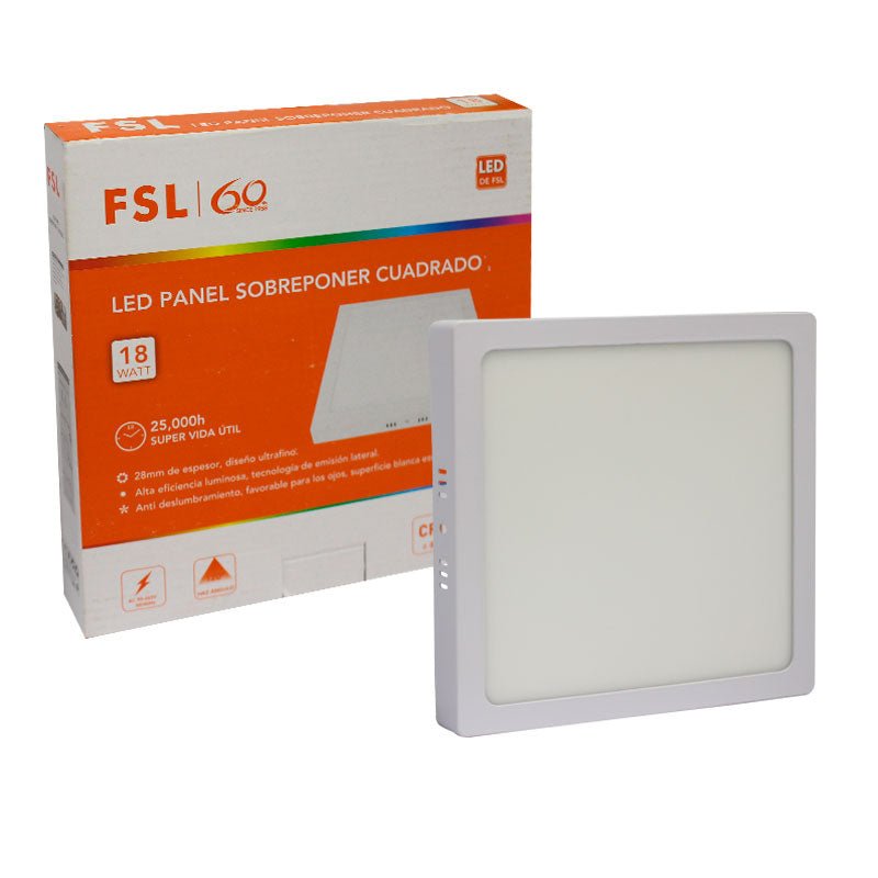 Panel superficial led 18w 6500k fsl