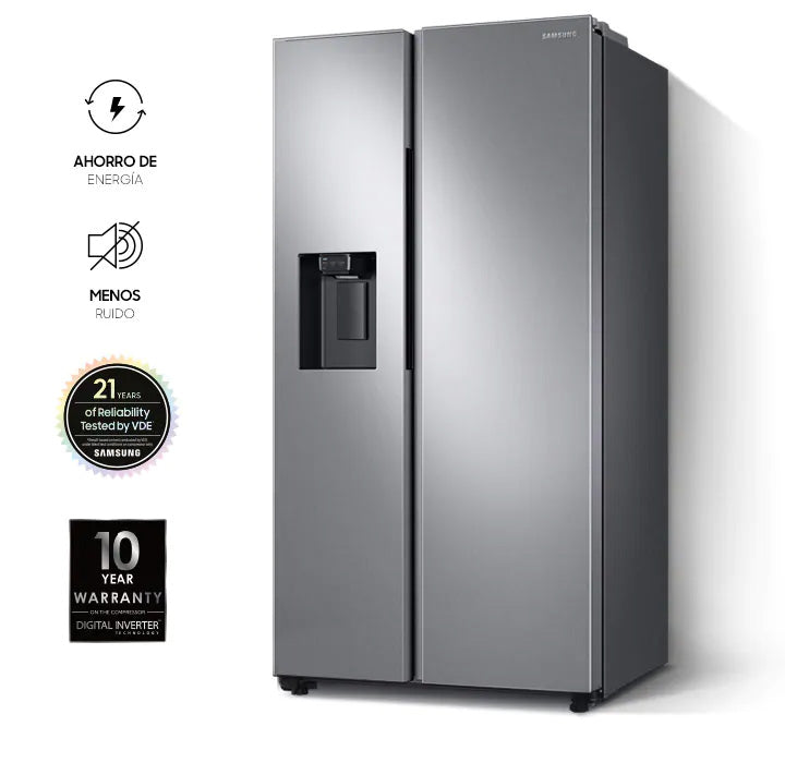 Samsung Refrigeradora 22 Pc Side By Side Rs22T5200S9/Ap Silver All Around Co