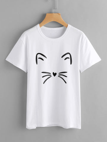 T-shirt Estampado Gato