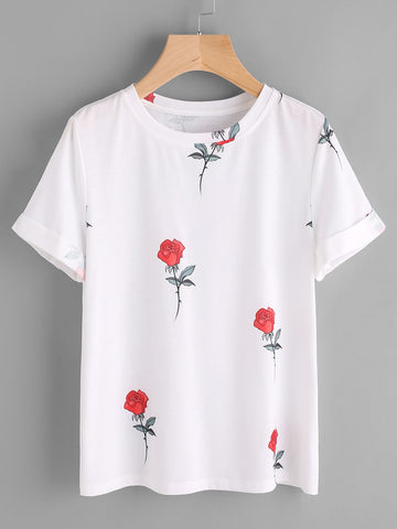 T-shirt Estampado Rosas