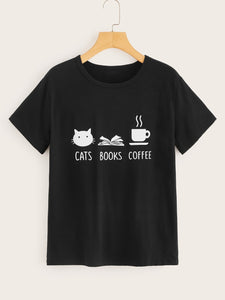 "T-shirt ""Cats, Books, Coffee"""