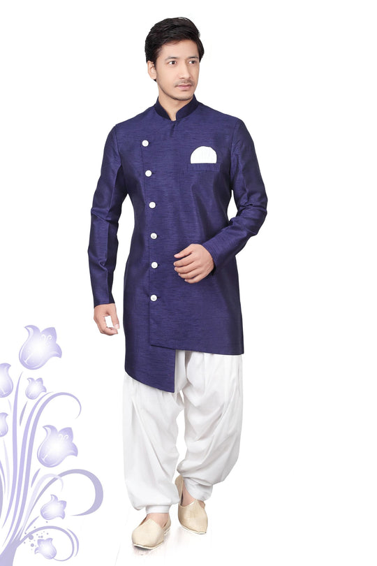 Indo Western Designer Solid Color Silk Kurtas with White Patiala Bottoms (various colors)