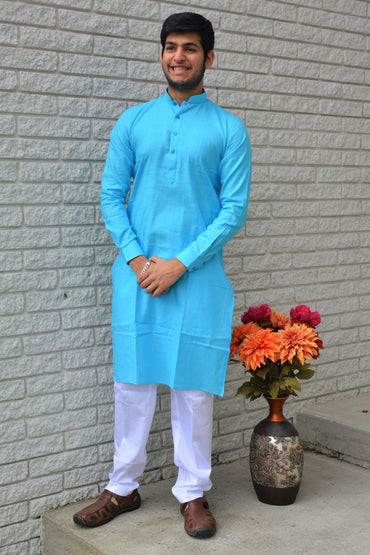 Khadi Cotton Kurta Set with Alighari White Pants (various colors/sizes)