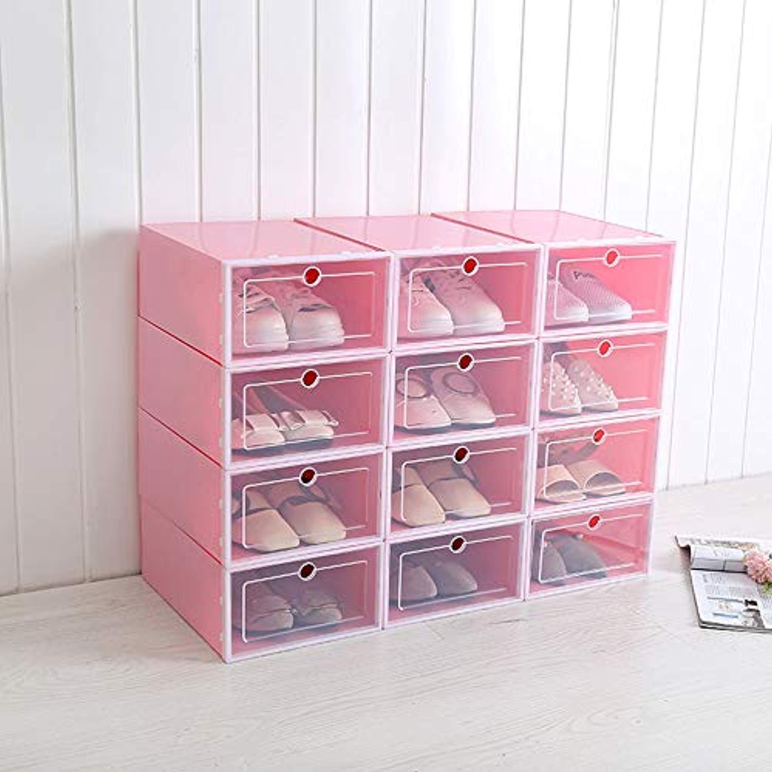 VIOLETY 3pc Storage Shoes Box Clear Plastic Foldable Stackable Shoe Container Closet Shelf Organizer
