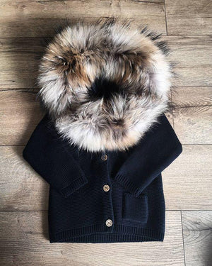 Baby Sweater With Fur Collar
