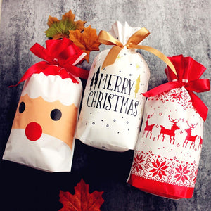 10pcs 2020 NEW Year Christmas Party Gift Drawstring Packing Stocking Bags