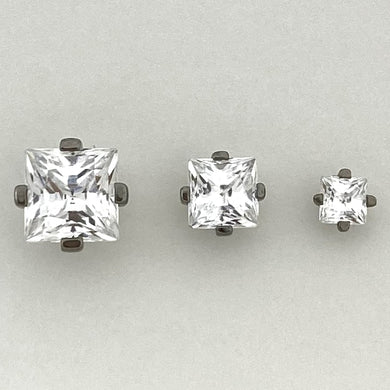 Prong Set Princess Cut Gem Threadless End