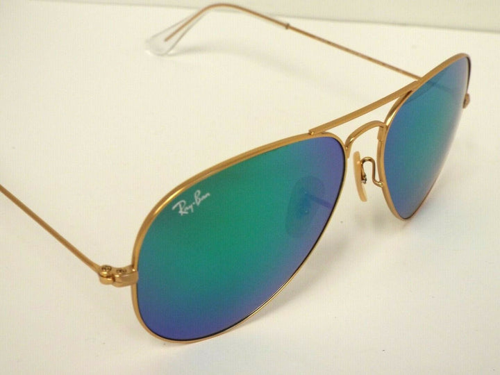 Ray-Ban RB 3025 112/19 Matte Gold Green Flash Aviator 58 mm Sunglasses
