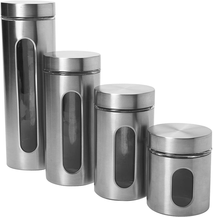 4 PC Stainless Steel / Glass Canister Set with screw top lids