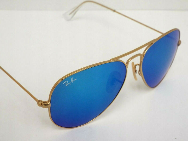 Ray-Ban RB 3025 112/17 Matte Gold Blue Flash 55 mm Aviator Sunglasses