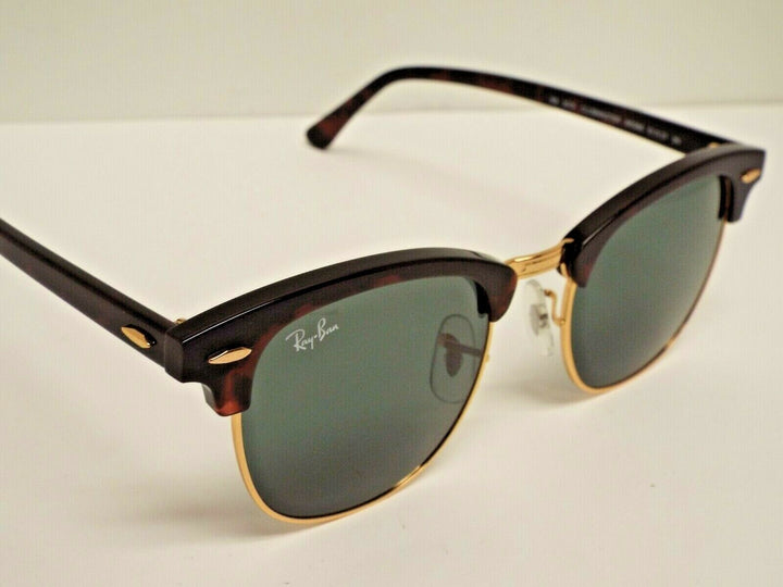 Ray-Ban RB 3016 W0366 Clubmaster Tortoise Gold Green Classic G-15 51 mm Sunglasses