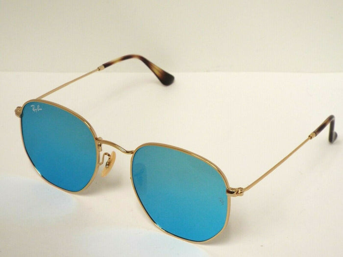 Ray-Ban RB3548N 001/90 Hexagonal Flat Gold Light Blue Flash Sunglasses