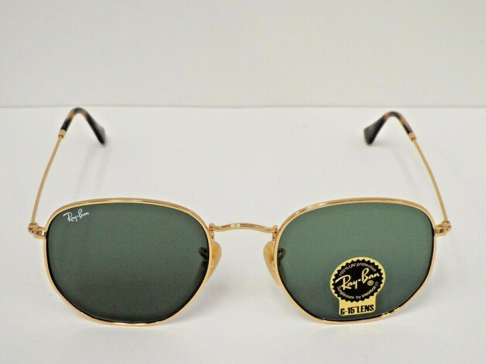 Ray-Ban RB 3548N 001 Gold Hexagonal Flat Green Classic G-15 Sunglasses