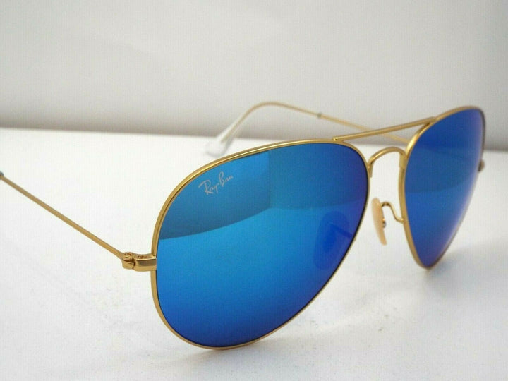 Ray-Ban RB 3025 112/17 Matte Gold Blue Flash 62 mm Aviator Sunglasses