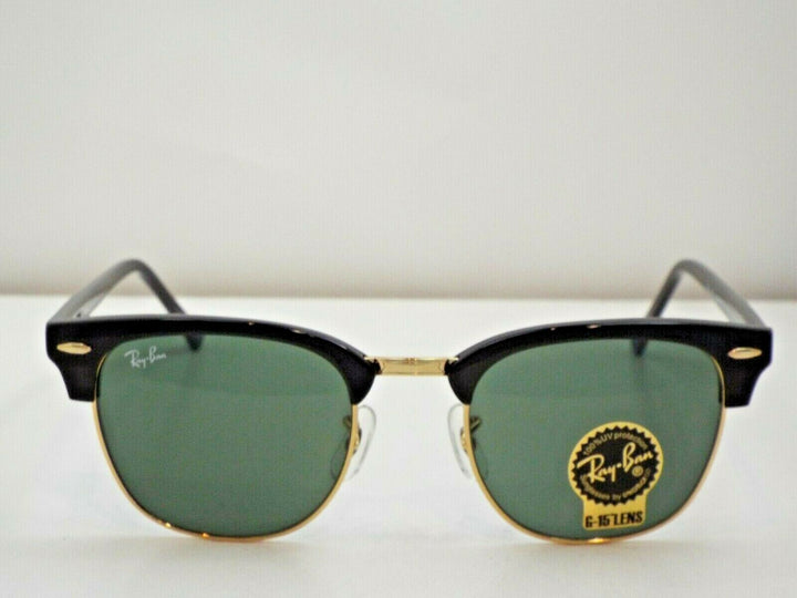 Ray-Ban RB 3016 W0365 Black Gold Green Classic G-15 Clubmaster 51 mm Sunglasses