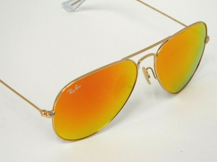 Ray-Ban RB 3025 112/69 Matte Gold Orange Flash Pilot 58 mm Aviator Sunglasses