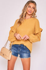 Mustard Ruffle Detail Brushed Top