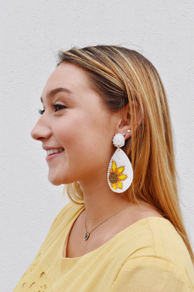 Sunflower Teardrop Beaded Earrings