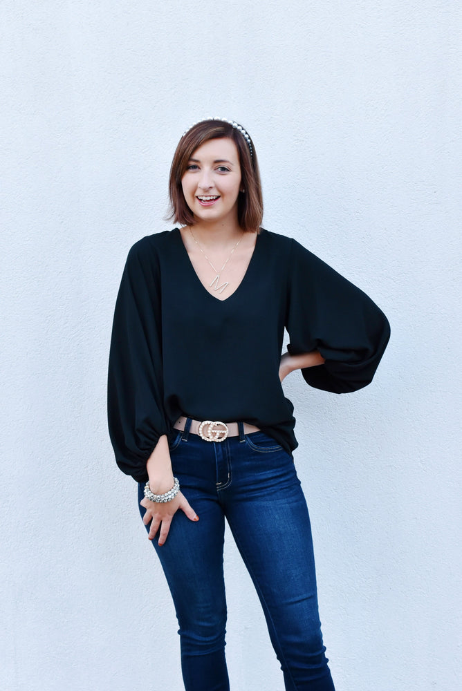 Black Balloon Sleeve V-Neck Blouse
