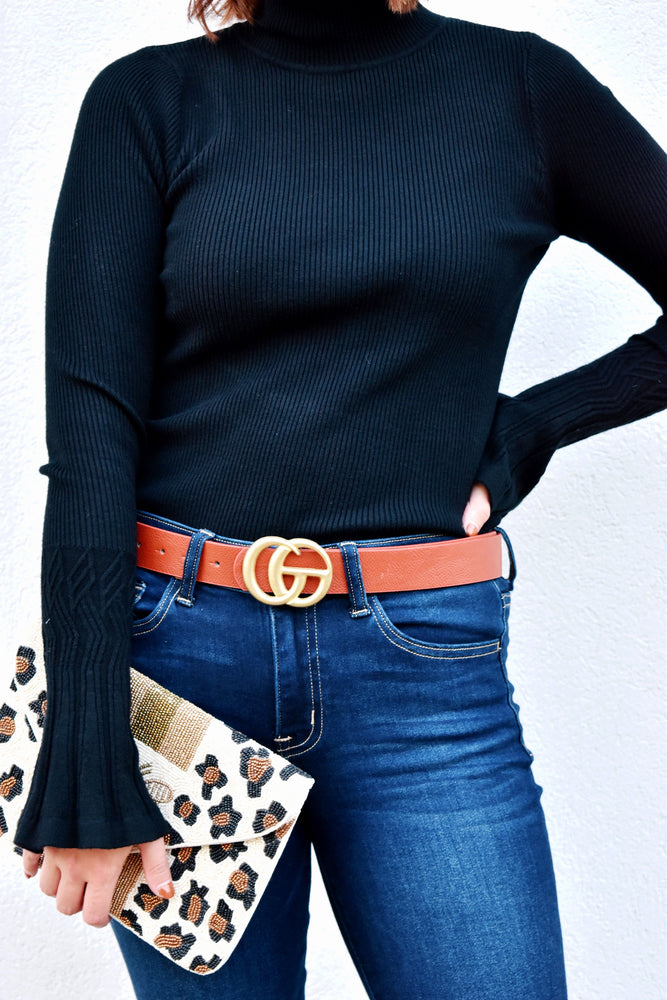 Gold Double G Brown Faux Leather Belt
