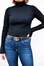 Gold Double G Black Faux Leather Belt
