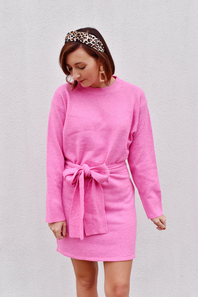 Pink Bow Front Sweater Dress