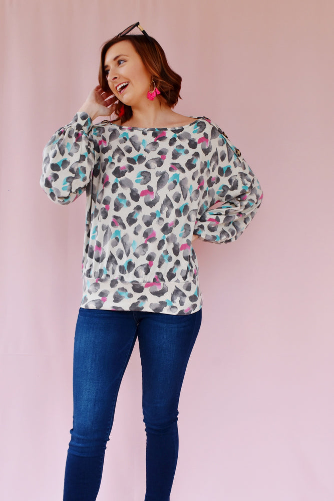Leopard Button Shoulder Brushed Top