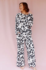 Ivory Leopard Wide Leg Lounge Set