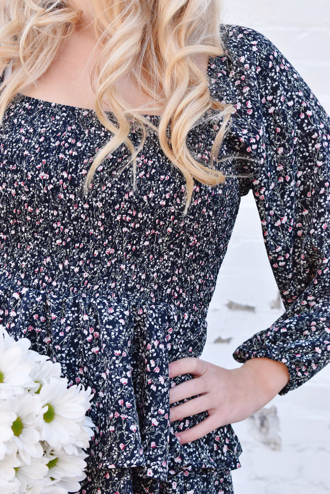 Navy Ditsy Floral Ruffle Romper