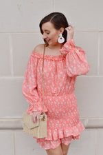 Coral Floral Smocked Skirt Dress