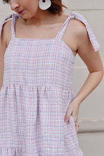 Soft Pink Tweed Babydoll Dress