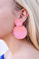 Two Tone Beaded Disc Earring