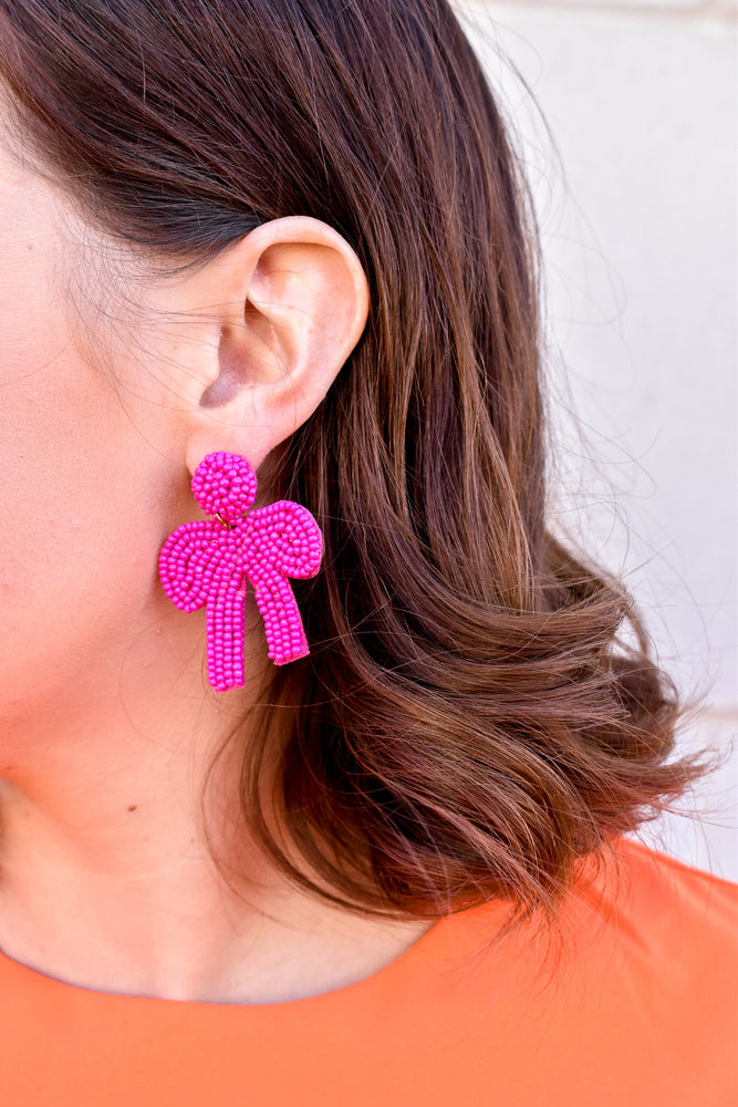 Fuchsia Beaded Bow Statement Earrings