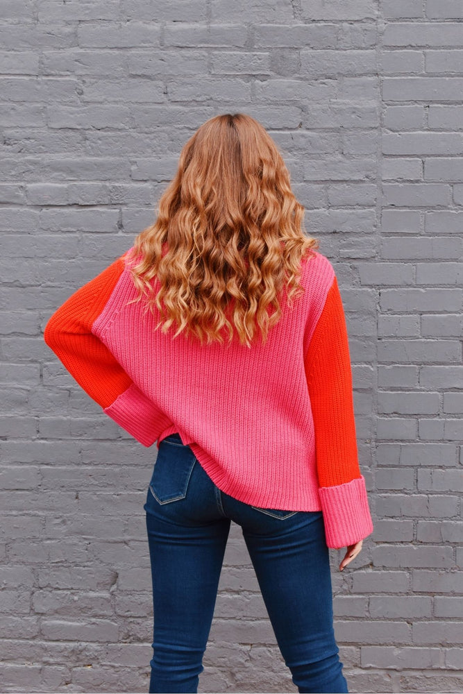 Pink & Red Colorblock Sweater