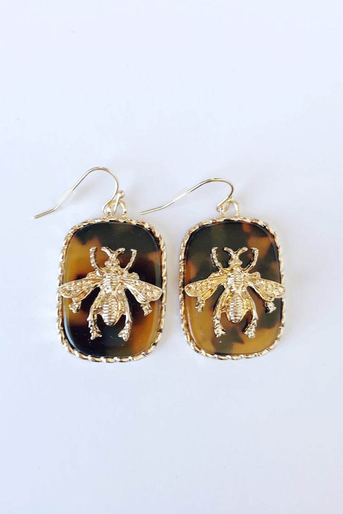 Acrylic Disk & Gold Bee Drop Earrings